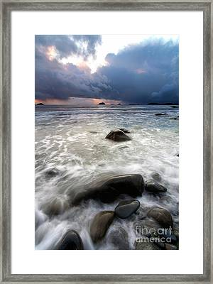 Sunset Beneath The Storm Framed Print