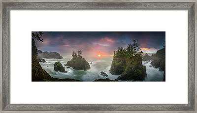 Sunset Between Sea Stacks With Trees Of Oregon Coast Framed Print