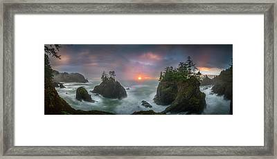Framed Print featuring the photograph Sunset Between Sea Stacks With Trees Of Oregon Coast by William Lee