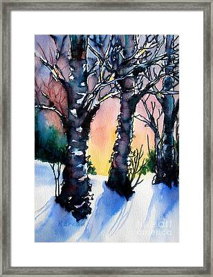 Sunset Birches On The Rise Framed Print by Kathy Braud