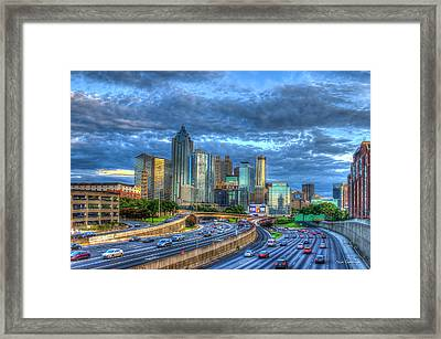 Framed Print featuring the photograph Sunset Blue Glass Reflections Atlanta Downtown Cityscape Art by Reid Callaway
