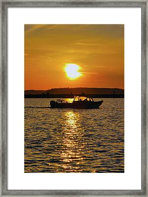 Sunset Boat Framed Print