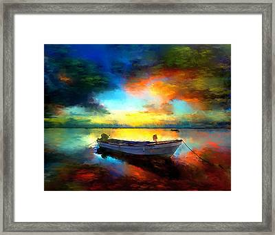 Sunset Boat Landscape Artwork Painting Framed Print by Andres Ramos