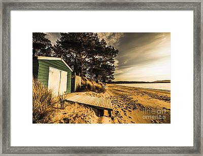 Sunset Boat Shed Framed Print by Jorgo Photography - Wall Art Gallery
