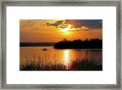 Sunset Boater, Smith Mountain Lake Framed Print