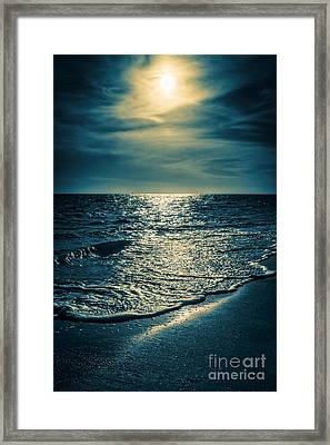 Sunset Bowman Beach Sanibel Florida Framed Print by Edward Fielding