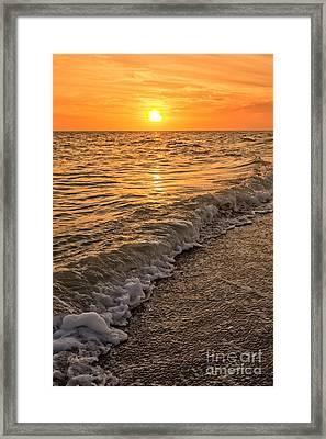 Sunset Bowman Beach Sanibel Island Florida  Framed Print by Edward Fielding