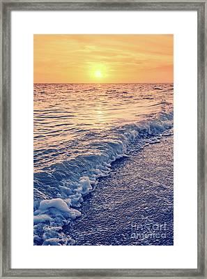 Sunset Bowman Beach Sanibel Island Florida Vintage Framed Print by Edward Fielding