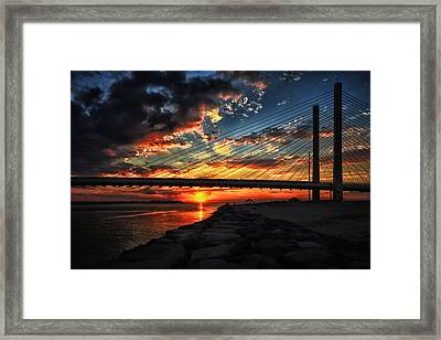 Sunset Bridge At Indian River Inlet Framed Print