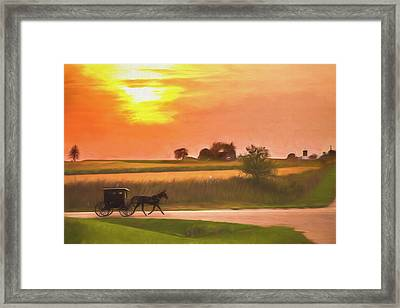 Framed Print featuring the photograph Sunset Buggy Ride by Joel Witmeyer