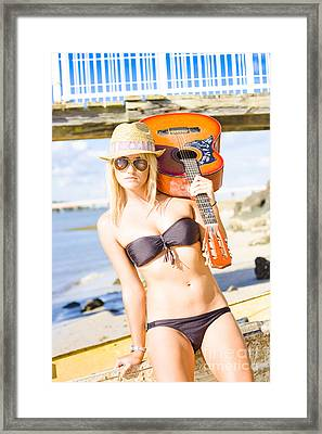 Sunset Busker Holding Guitar In Tropical Paradise Framed Print by Jorgo Photography - Wall Art Gallery