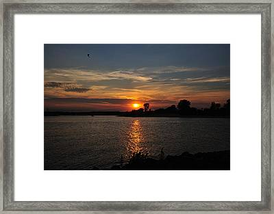 Framed Print featuring the photograph Sunset By The Inlet by Angel Cher