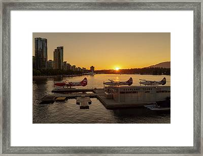 Sunset By The Seaplanes Framed Print