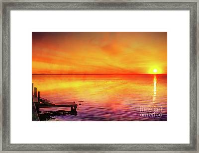 Framed Print featuring the digital art Sunset By The Shore by Randy Steele