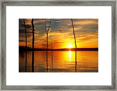 Framed Print featuring the photograph Sunset By The Water by Angel Cher