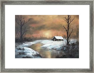 Sunset Cabin  Framed Print