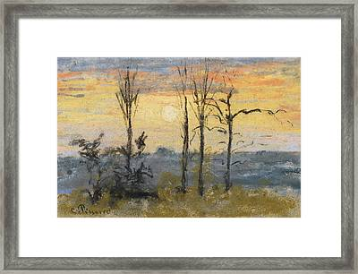 Sunset Framed Print by Camille Pissarro