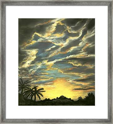 Framed Print featuring the painting Sunset Clouds by Anastasiya Malakhova