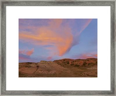 Sunset Clouds, Badlands Framed Print