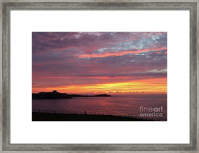 Sunset Clouds In Newquay Cornwall Framed Print by Nicholas Burningham