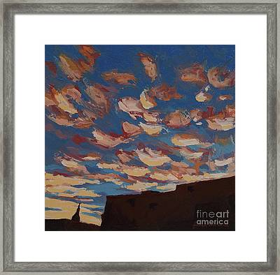 Framed Print featuring the painting Sunset Clouds Over Santa Fe by Erin Fickert-Rowland