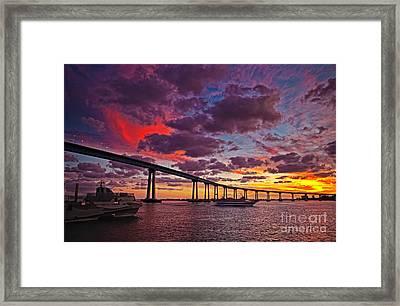 Sunset Crossing At The Coronado Bridge Framed Print by Sam Antonio Photography