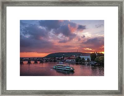 Sunset Cruise By Vltava River. Prague Framed Print