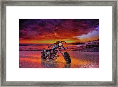 sunset Custom Chopper Framed Print