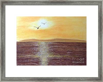 Sunset And Seagulls Framed Print