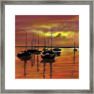 Framed Print featuring the digital art Sunset by Darren Cannell