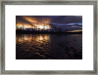 Sunset Drama Over Boise River In Boise Idaho Framed Print by Vishwanath Bhat