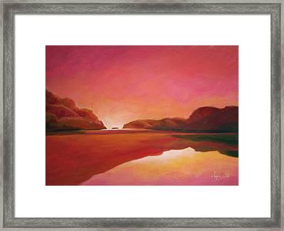 Sunset Estuary Framed Print by Angela Treat Lyon