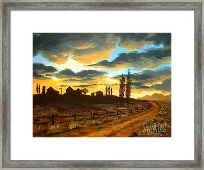Sunset  Farm Framed Print by Shasta Eone