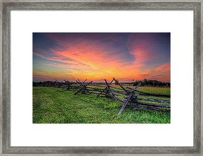 Sunset Fence Framed Print