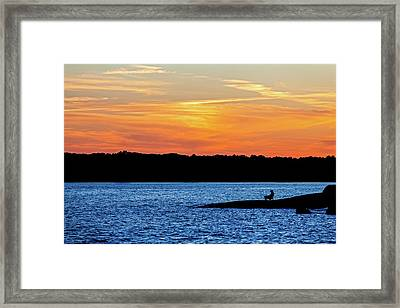 Sunset Fisherman  Framed Print