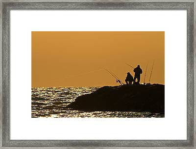 Sunset Fishermen Framed Print