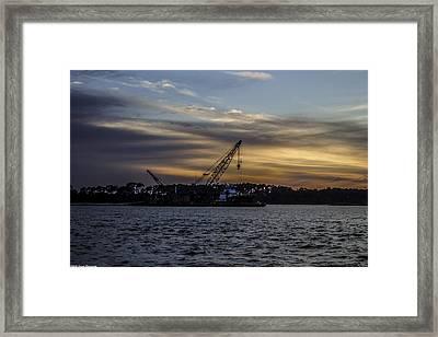 Sunset Dredging  Framed Print by Debra Forand