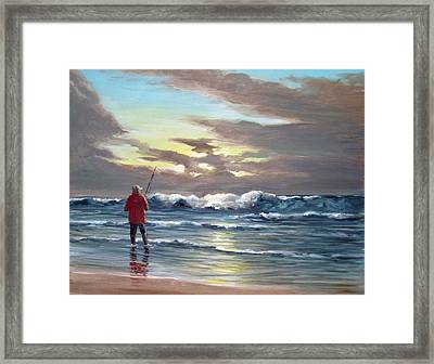 Sunset Fishing Off Newport Framed Print