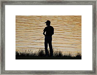 Framed Print featuring the photograph Sunset Fishing by Teresa Blanton