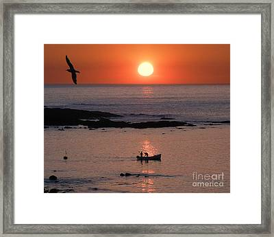 Sunset Fishing Framed Print by Terri Waters