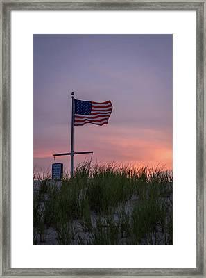 Sunset Flag Beach Dune Lavallette Nj  Framed Print by Terry DeLuco
