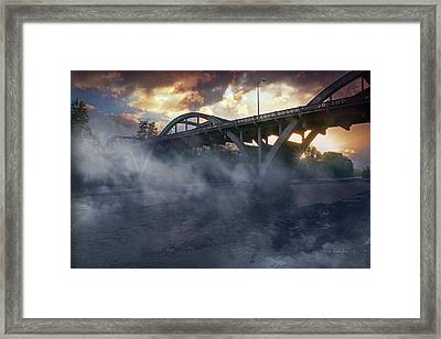 Sunset Fog At Caveman Bridge Framed Print