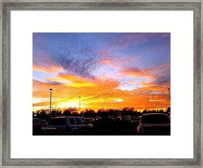 Framed Print featuring the pyrography Sunset Forecast by Elly Potamianos