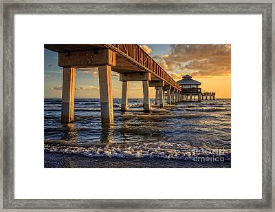 Framed Print featuring the photograph Sunset Fort Myers Beach Fishing Pier by Edward Fielding