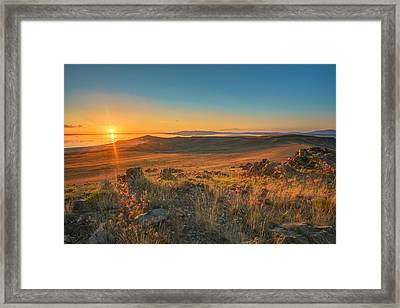 Sunset From Antelope Island Framed Print by James Udall