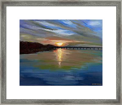 Sunset From The Big Dam Bridge Framed Print by Cathy France