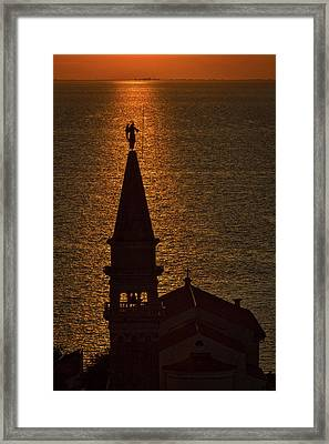 Sunset From The Walls #2 - Piran Slovenia Framed Print
