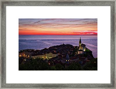 Sunset From The Walls #3 - Piran Slovenia Framed Print