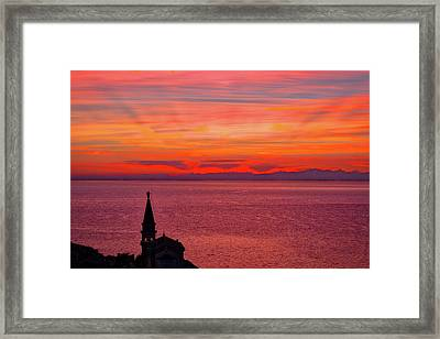 Sunset From The Walls - Piran Slovenia Framed Print