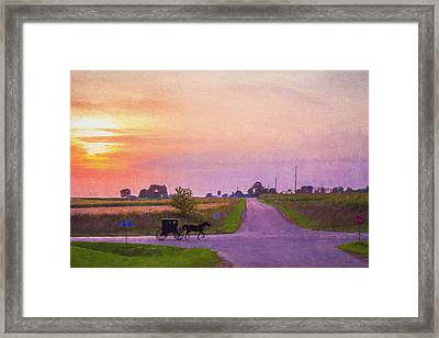 Framed Print featuring the photograph Sunset Gallop by Joel Witmeyer
